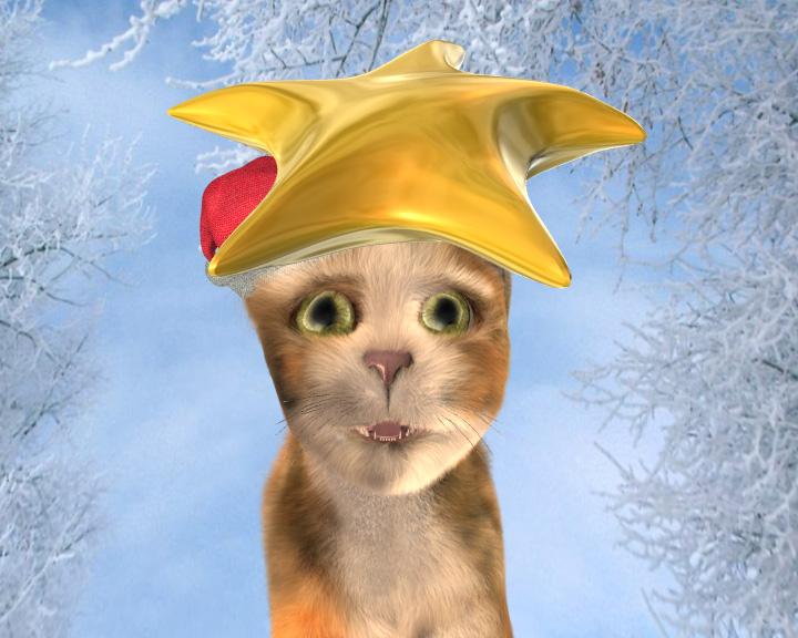 3D Winterkatze, 3D singende Katze, Lightwave, virtuelle Fotografie