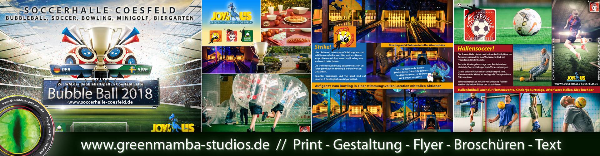 Printwerbung, Flyergestaltung und Fotografie. Greenmamba-Studios